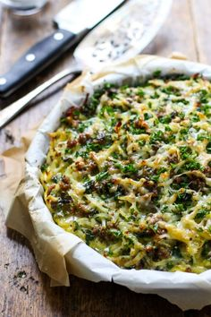 Six Ingredient Sausage Potato Pie - a perfect quick and easy brunch dish!