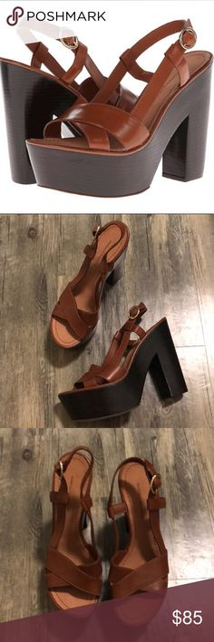 """DVF 'Raleigh' Platform Sandals Diane von Furstenber 'Raleigh' Platform Heels I believe the color is cognac (heel is a blackish brown) Great condition Size 9.5 No box or dust bag  Super high but comfortable. Perfect to wear with flare pants, dresses, or skirts.  Woods heel is approximately 5 1/4"""" Platform is 1 3/4"""" Adjustable strap  Offers welcome. Thanks! 💞 Diane Von Furstenberg Shoes Sandals"""