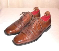 Johnston & Muprhy Brown Woven & Solid Leather Cap Toe Oxford Men's Size 10 M  #JohnstonMurphy #Oxfords