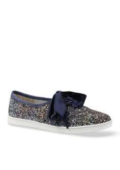 J Rene233 Blue Gold Multi SHIMMO Glitter Fabric Denim Ribbon Lace Sneaker Oxford