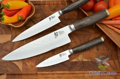 """- Set includes 8"""" Chef's Knife, 6"""" Utility Knife, 4"""" Paring Knife - VG-MAX super steel cutting core with 32 layers each side of stainless with a traditional Japanese """"Hand Hammered"""" look. - 16 degree"""