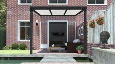 Gumax terrasoverkapping vooraanzicht 3.06m breed x 2.5m diep modern antraciet met opaal polycarbonaat dak Pergola, Garage Doors, Relax, Patio, Mansions, House Styles, Outdoor Decor, Home Decor, Garden