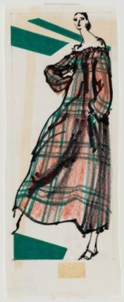 1977 Female model in off-the-shoulder loose plaid dress, Artist Kenneth Paul Block from the Museum of Fine Arts, Boston