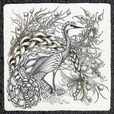 Crane - Zentangle - Doodles (By Norma Burnell)
