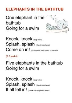Elephants in a bath tub Preschool Jungle, April Preschool, Preschool Songs, Preschool Ideas, Circle Time Songs, Circle Time Activities, Hands On Activities, Classroom Activities, Zoo Songs