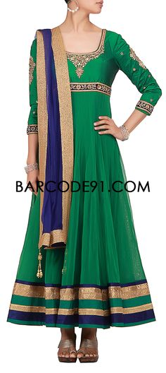 Buy it now http://www.barcode91.com/anarkali-in-green-net-fabric-with-lirex-and-velvet-border-at-the-hem-by-kalki.html  Anarkali in green net fabric with lirex and velvet border at the hem by Kalki