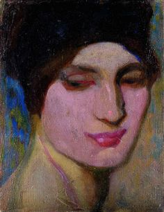 Woman Portrait - Camillo Innocenti Italian, 1871 - 1961 Oil on cardboard, 30 x 23,3 cm.