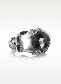 Ugo Cacciatori Sterling Silver and Onyx Double Skull Ring   FORZIERI