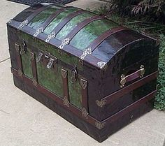 """Large Size Dome Top Antique Steamer Trunk: 36""""L x 21""""D x 26""""H Beautifully restored one-of-a-kind antique trunk illustrating and documenting the construction material used over 100 years ago! Surviving Green Cloisonne Exterior Finish. Double Lock,"""
