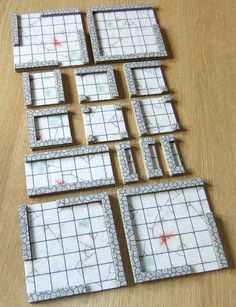 Trim the wall strips to length for each tile. Glue them in the half inch strip at the edge of the tile.