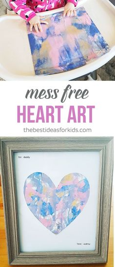 This Mess Free Painting for Toddlers Art Activity is the perfect gift for Mother's Day, Father's Day, Valentine's Day or even a Birthday gift from baby to mom or dad! via baby crafts Mess Free Painting with Babies or Toddlers Baby Crafts, Toddler Crafts, Crafts For Kids, Kids Diy, Family Crafts, Fathers Day Crafts, Valentine Day Crafts, Baby Fathers Day Gift, Dad Gift From Baby