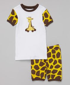 Look at this White & Brown Giraffe Pajama Set - Infant, Toddler & Boys on #zulily today!