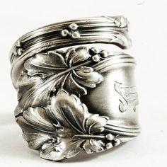 Oak Leaves in Sterling Silver Victorian Spoon Ring by Spoonier