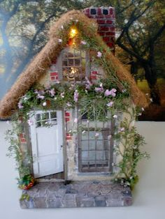 Marie Antoinette Cottage Dollhouse-doll house, fairy house, gnome house-same only different! ;)