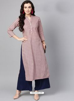 Pink Western Kurti Plazzo Textile Mall Textile Now at TextileMall. New Kurti Designs, Salwar Designs, Kurta Designs Women, Kurti Designs Party Wear, Designs For Dresses, Blouse Designs, Simple Pakistani Dresses, Pakistani Dress Design, Indian Designer Outfits