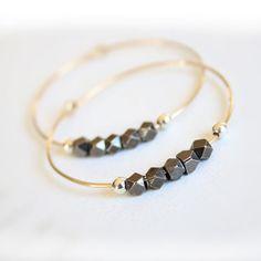 Gold Hoop Earrings Geometric Metal Sterling by StacyRaeDesigns, $24.00