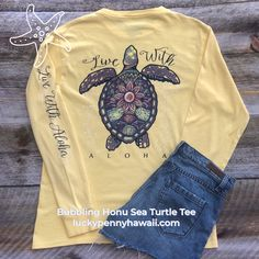 Be like a Sea Turtle...at ease in your own shell 🐚   The Bubbling Honu Sea Turtle design @luckypennyhawaii.com This mandala inspired design is sure to draw attention in all the right ways! More colors available in short and long sleeve tees.  The tshirt is 100% ringspun cotton, so soft and made to last.   @luckypennyhawaii Turtle Shirts, Lucky Penny, I Saw The Light, How To Better Yourself, Look Cool, No Time For Me, Perfect Fit, Hawaii, Long Sleeve Shirts