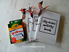 Dry Erase Activity Book! This is a HUGE hit with kids, easy to clean up, and fits in a purse or diaper bag!    www.simplykierste.com