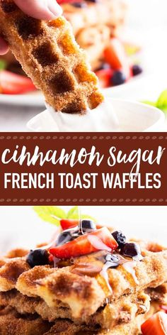 This is the BEST recipe for easy homemade french toast sticks! Made in a waffle iron and coated in delicious cinnamon sugar for that special crunchy c. Churro French Toast, Homemade French Toast, French Toast Waffles, French Toast Sticks, Breakfast Waffles, French Toast Bake, Best Breakfast, Breakfast Recipes, Breakfast Ideas
