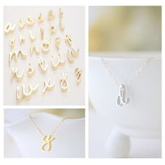 Gold or Silver Cursive initial Necklace