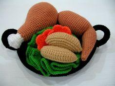 Crochet Pattern  CHICKEN HOT WOK Toys / Playfood by skymagenta, $5.99