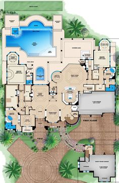 Mediterranean Plan: 10,662 Square Feet, 6 Bedrooms, 8.5 Bathrooms - 1018-00271