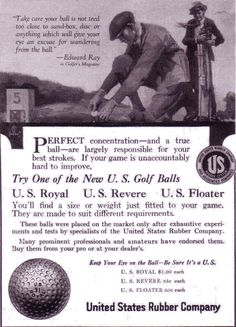 Vintage Golf Ball ad from United States Rubber makers of the U.S. Floater