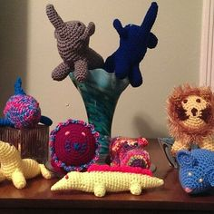 It's a critter party! #kansascity #forsale #etsyshop #etsy #uniquelyetsy #critterscrocheted #cute #elephant #lion #fish #alligator #seal #hippo #mouse #amigurumi #animals #stuffedanimal #fiberart #party #partytime #kids #yarn by critterscrocheted