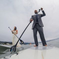 GoPro Featured Photographer - @hoost11  About the Shot - Wedding Day SUP: We wanted to do something different than your standard #wedding photos and I got this wild idea to paddle in the #HalfMoonBay harbor in our wedding clothes. This was actually the plan, to get a #GoPro shot like this but when our wedding photographers heard what we were doing they tagged along and shot some more pics for free.