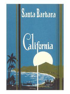 Art Deco Poster, Santa Barbara, California Premium Poster