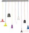Suspension Lampe Motley Dining  Unité 499,00 € Design: Neuf abats-jour différents accrochés à des câbles textiles colorés apportent une lumière pleine d´atmosphère au dessus de votre table. classe énergétique: A-E Dimensions: 1,45 x 1,22 x 0,1 m  Référence de l´article: 31730