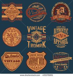 Set of Vintage typography, t-shirt graphics, apparel stamps, tee print design… Presentation Design Template, Clothing Tags, Typographic Design, Vintage Typography, Banner Printing, Vintage Labels, Image Photography, Vintage Fashion, Men's Fashion