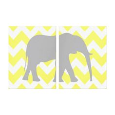 yellow and gray elephant halves chevron jungle animal wall art canvas for gender neutral nursery or kids bedroom