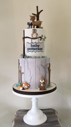 Gorgeous woodland animal themed boys baby shower cake by sticky face cakes