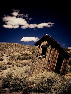 This isolated 'can' sits in Bodie, CA. It may literally be the loneliest bathroom around as Bodie is a nineteenth- / early twentieth-century ghost town, a remnant of the Gold Rush. On second thoughts, with 200,000 visitors a year to the historic destination, this old-fashioned outhouse might not be so solitary after all.