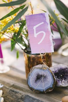Geode table number | Green Blossom Photography | see more on: http://burnettsboards.com/2015/10/sand-dunes-national-park-wedding/