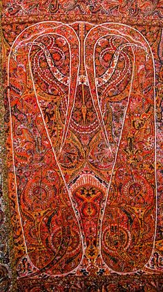 Complex and Sophisticated Buta/Paisley on Long Kashmir Paisley Shawl. Sikh Period. Kashmir. Pashmina. ca. Mid 19th Century.