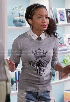 Zoey's queen bee sweater on Black-ish.  Outfit Details: https://wornontv.net/57184/ #Blackish