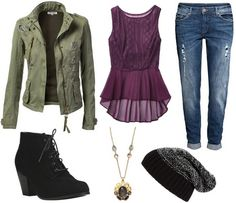 Olive jacket, jeans, purple top, ankle boots