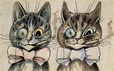 A Pair of Toff Toms | watercolour and black ink on linen | by Louis Wain