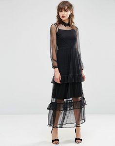 ASOS PREMIUM Spot Mesh Maxi Dress