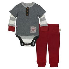 Organic Henley 2fer Bodysuit & Pant Charcoal Heather - Burt's Bees Baby™