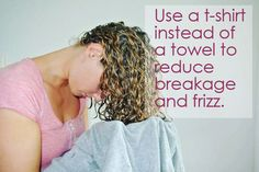 So can the the way you dry your hair. Ditch your towel and grab a T-shirt for optimal drying. It'll reduce frizz and breakage you might get from a harsher towel. | 36 Awesome Hair Hacks For Every Type Of Hair