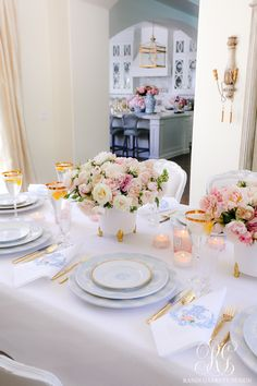 Pink and Blue Mother's Day Table - Randi Garrett Design Easter Table Settings, Easter Table Decorations, Easter Decor, Gold Sunburst Mirror, Mirrored Sideboard, White Home Decor, Home Decor Inspiration, Small Businesses, Napkins