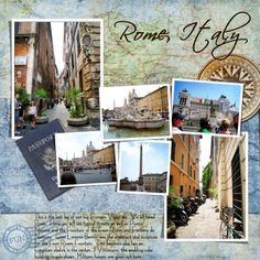 travel Scrapbook page - 1 pg w/ 6 pics