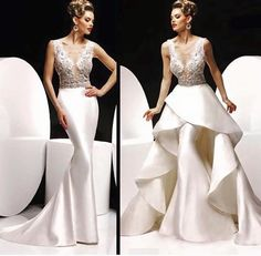 Design Fashion Bead Sequins Sheer Illusion Neck Mermaid Gorgeous Evening Dresses With Detachable Train Sexy Party