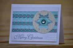 handmade Christmas card from Along Came Stamping ... like the layout of this card for a variety of other themes ... negative space snowflake in silver glitter paper circle ... strips of designer paper ... horizontal format ... Stampin' Up!