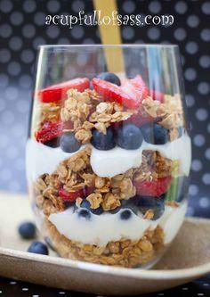 Healthy Fruit and Yogurt Parfait  Made with blueberries, strawberries and vanilla greek yogurt.