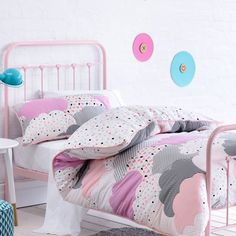 Adairs Kids Girls Cloud Quilted - Bedroom Quilt Covers & Coverlets - Adairs Kids online