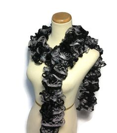 Black Scarf Ruffle Scarf Knit Scarf Mothers Day by ArlenesBoutique, $25.00